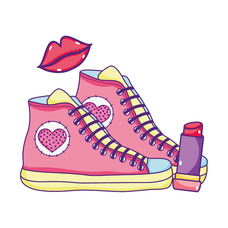 sneakers shoes with fashion lips and lipstick Иллюстрация