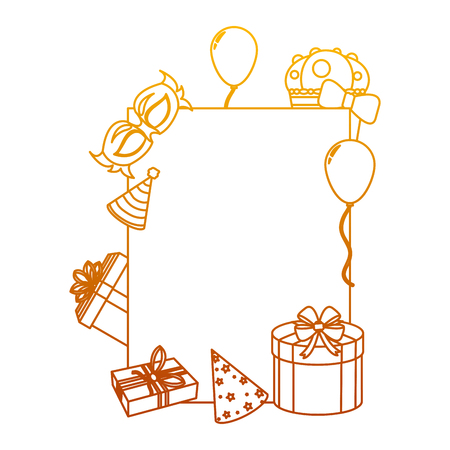 degraded line emblem decoration with birthday party things