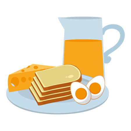 fried eggs with bread and juice breakfast Ilustração