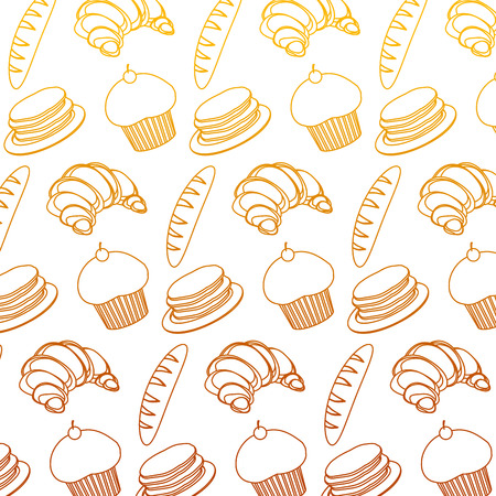 degraded line wheat plant breads with waffles and muffin background Illustration