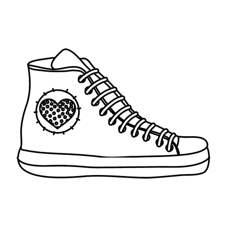 line fashion sneaker shoes with heart design
