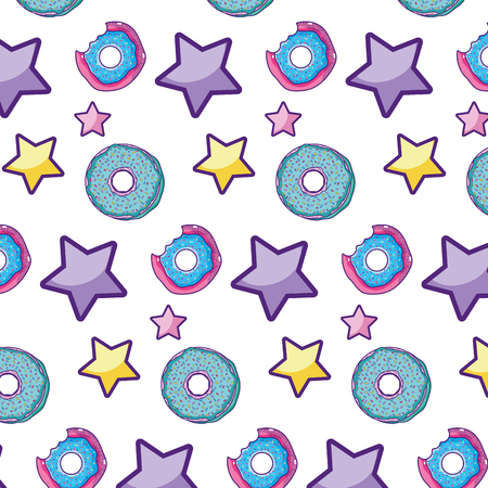 delicious donut and stars patch background