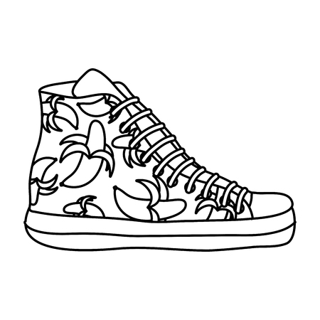 line fashion sneaker shoes with bananas style
