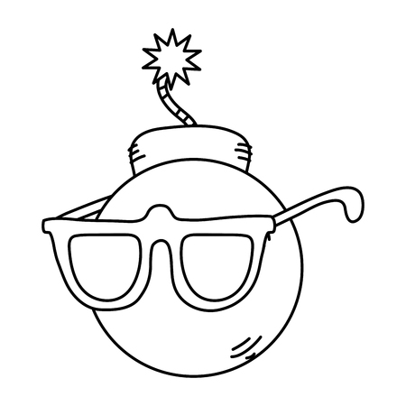line pop art bomb with glasses style