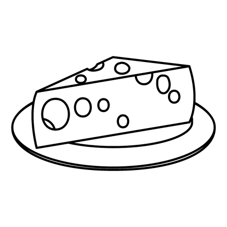 Cheese on the plate vector illustration