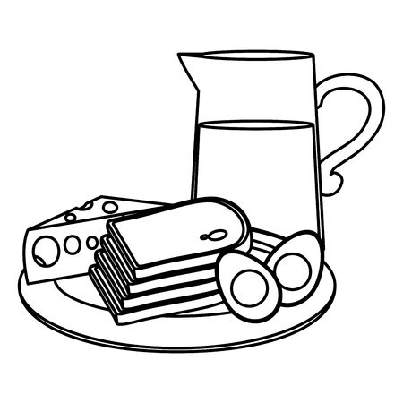Fried eggs with bread and juice vector illustration