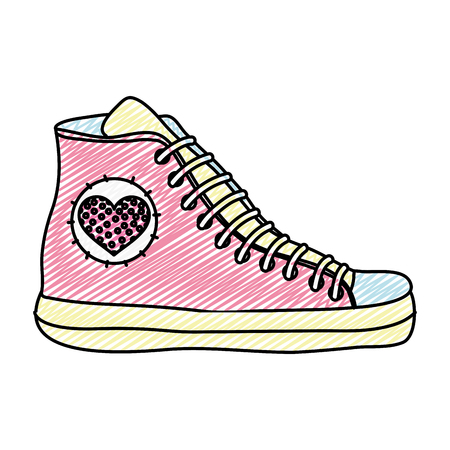 Doodle fashion sneaker shoes with heart design vector illustration