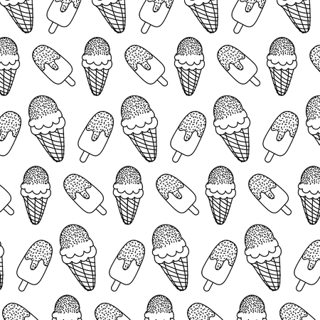 line ice lollies and cream cone backgroud vector illustration