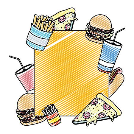 doodle emblem with unhealthy fastfood meal decoration vector illustration