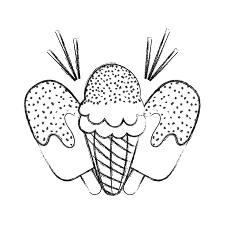 grunge ice lollies and cone cream desset vector illustration