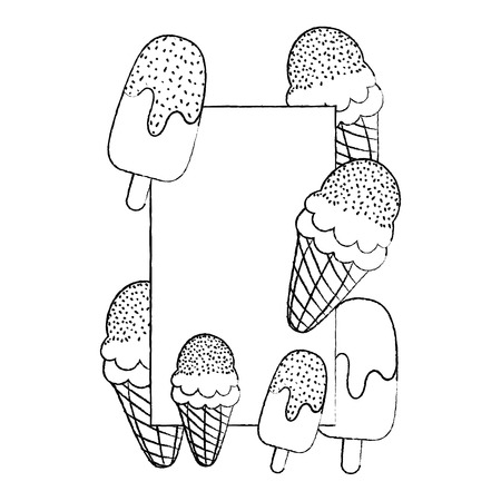 grunge sweet ice lollies and cream emblem vector illustration