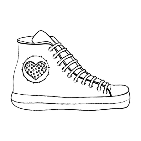 grunge fashion sneaker shoes with heart design vector illustration