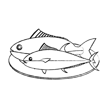 grunge helathy fishes sea food in the plate vector illustration