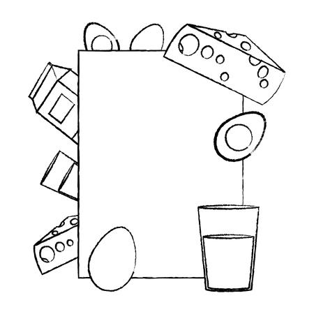 grunge emblem with healthy breakfast nutrition vector illustration