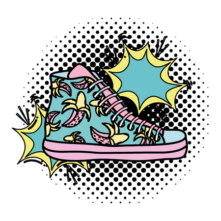 color sneakers shoes with fashion pop art vector illustration Çizim