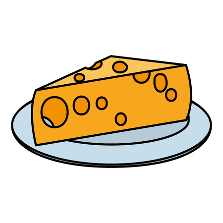color yummy cheese fresh food in the plate vector illustration