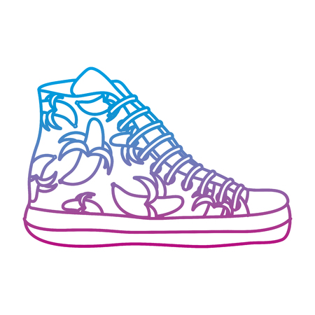 degraded line fashion sneaker shoes with bananas style vector illustration