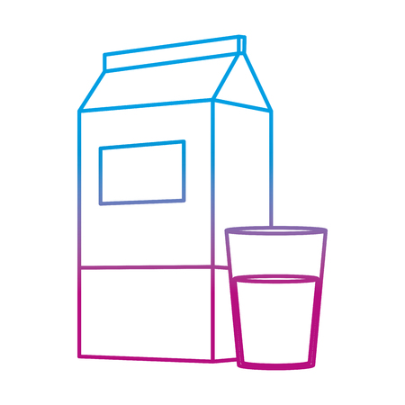 degraded line fresh milk nutrition in the box and glass vector illustration