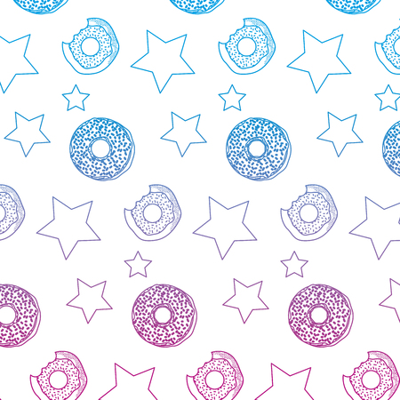 degraded line delicious donut and stars patch background vector illustration
