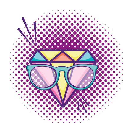 brilliant diamond accessory with glasses vector illustration