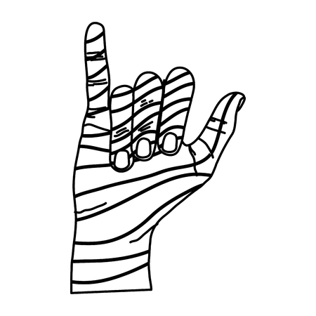 Line Fashion Hand With Hang Loose Sign Vector Illustration Royalty