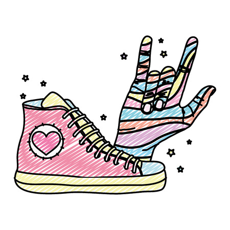 doodle fashion sneaker with hand with rock sign vector illustration