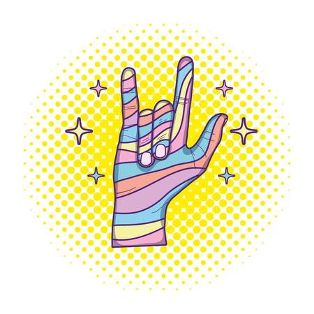 hand with rock gesture sign and stars vector illustration