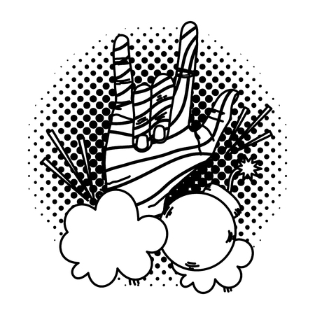line hand with rock sign and bomb in the clouds vector illustration
