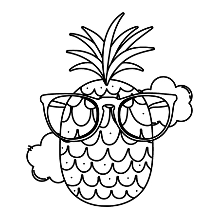 line pineapple fruit with fashion glasses and clouds vector illustration