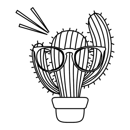 line cactus plant inside flowerpot with glasses vector illustration Иллюстрация