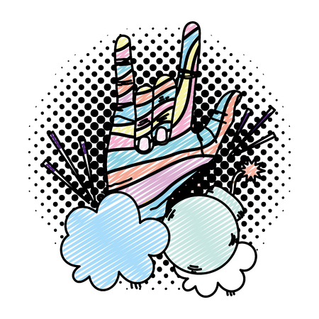 doodle hand with rock sign and bomb in the clouds vector illustration Illustration