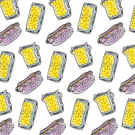 doodle hot dog with sandwich fastfood background vector illustration