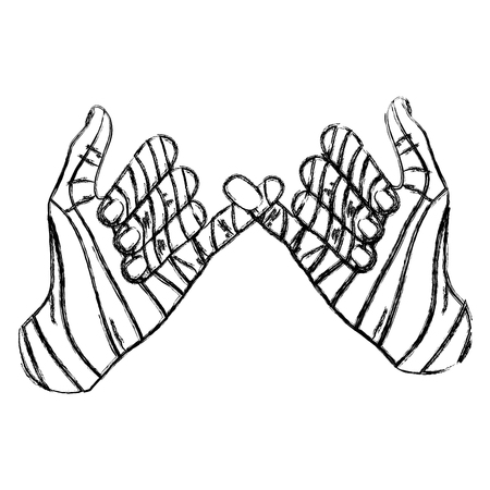 grunge fashion hand with pinky promise sign vector illustration Illustration
