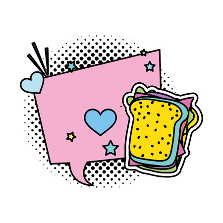 color chat bubble message with sandwich and patch decoration vector illustration