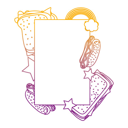 degraded line emblem with fastfood meal and fashion pop art vector illustration