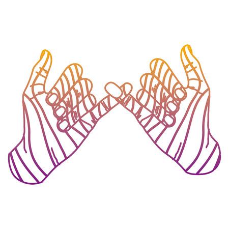 Mano de moda de línea degradada con ilustración de vector de signo de promesa meñique