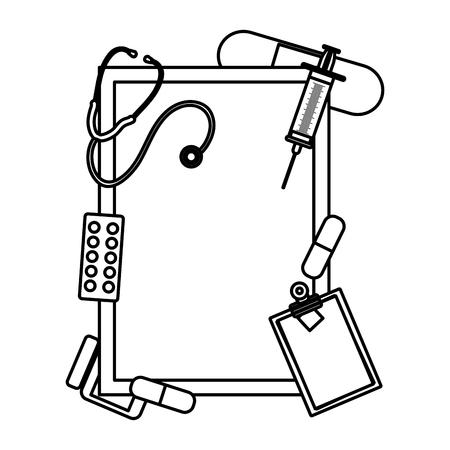 line emblem decoration with health medical treatment vector illustration