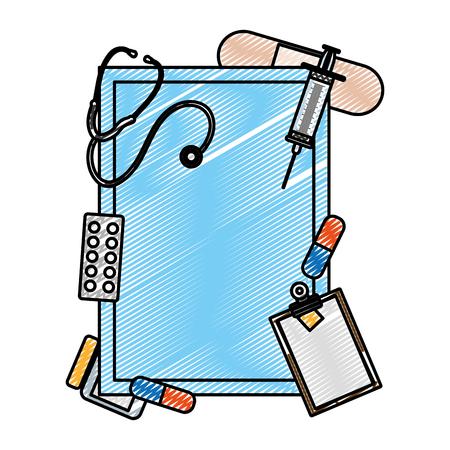 doodle emblem decoration with health medical treatment vector illustration