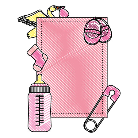 doodle emblem with baby things products necessities vector illustration Illustration
