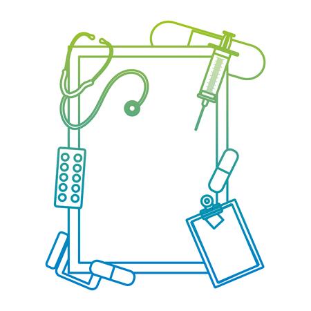 degraded line emblem decoration with health medical treatment vector illustration