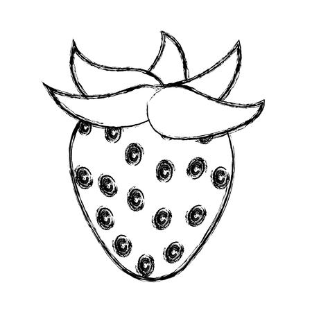 grunge delicious strawberry organic fruit nutrition vector illustration