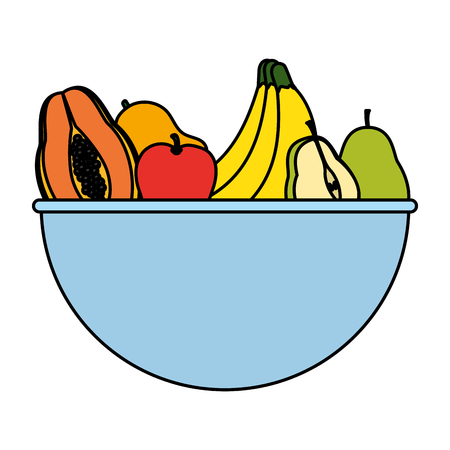 color delicious organic fruits nutrition in the bowl vector illustration Ilustração