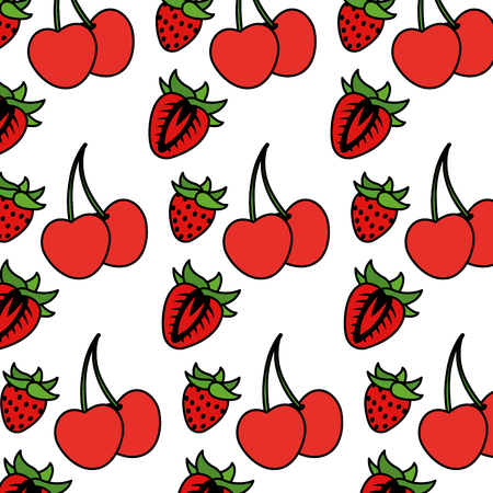 color delicious strawberry and cherrys fruits background vector illustration