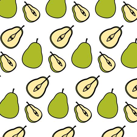 color delicious slice pear fruit background vector illustration