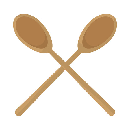 wood big spoons kitchen utensils vector illustration Illustration