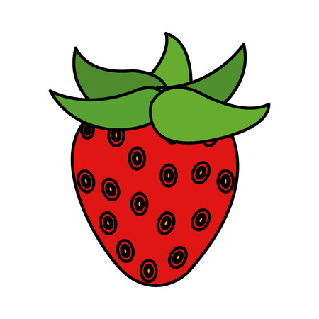 color delicious strawberry organic fruit nutrition vector illustration