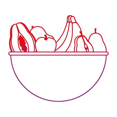 degraded line delicious organic fruits nutrition in the bowl vector illustration