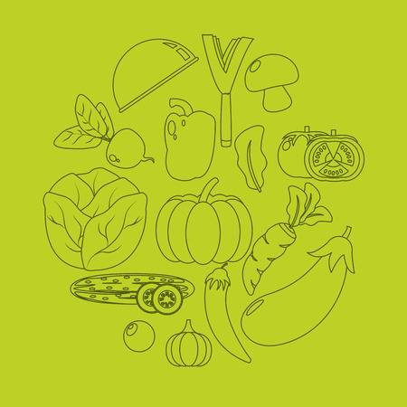 Healthy and fresh vegetables silhouettes over green background vector illustration graphic design