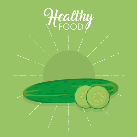 Healthy food cucumbers concept vector illustration graphic design