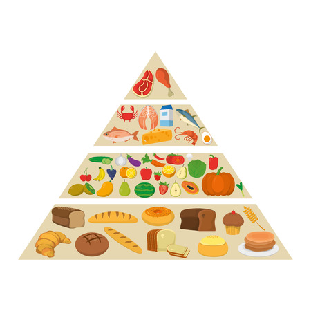 nutritional food pyramid diet products vector illustration